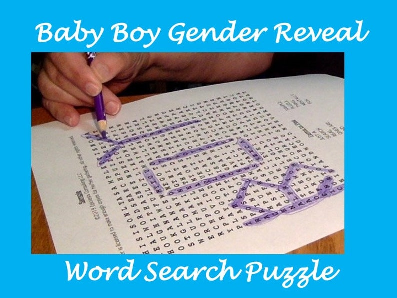 Printable Baby Boy Gender Reveal Word Search Puzzle Shower image 0