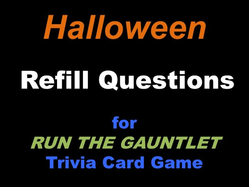 Printable Halloween Trivia Question Cards for RUN THE GAUNTLET image 0