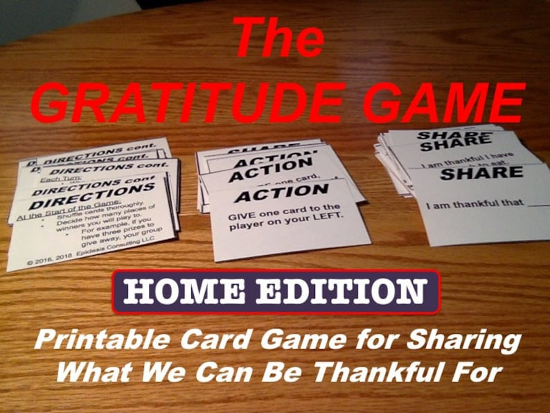 Gratitude Game Printable Thanksgiving Card Game and image 0