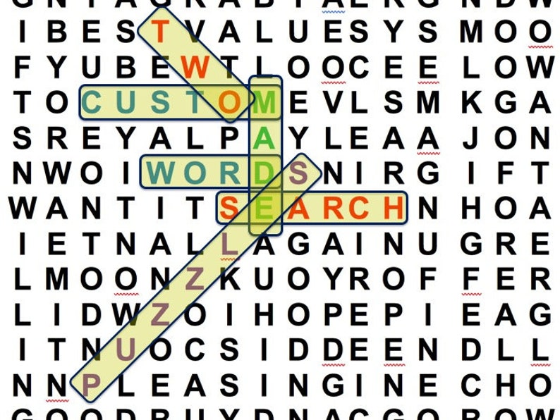 TWO Custom Word Search Puzzles Made to Order with Your Search image 0