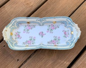 Rudolf Wachter RW Bavaria, Bavarian serving dish, white blue and gold with roses