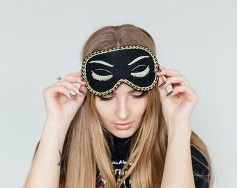 Black Audrey Hepburn Sleep Mask Breakfast at Tiffanys Eye Mask Holly Golightly Mask Handmade Night Mask with Embroidery Eyelashes Mask m9
