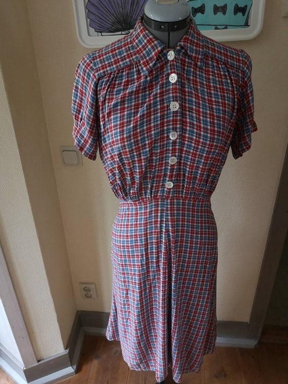 Vintage 1940s dress women, 1940s dress, checkered