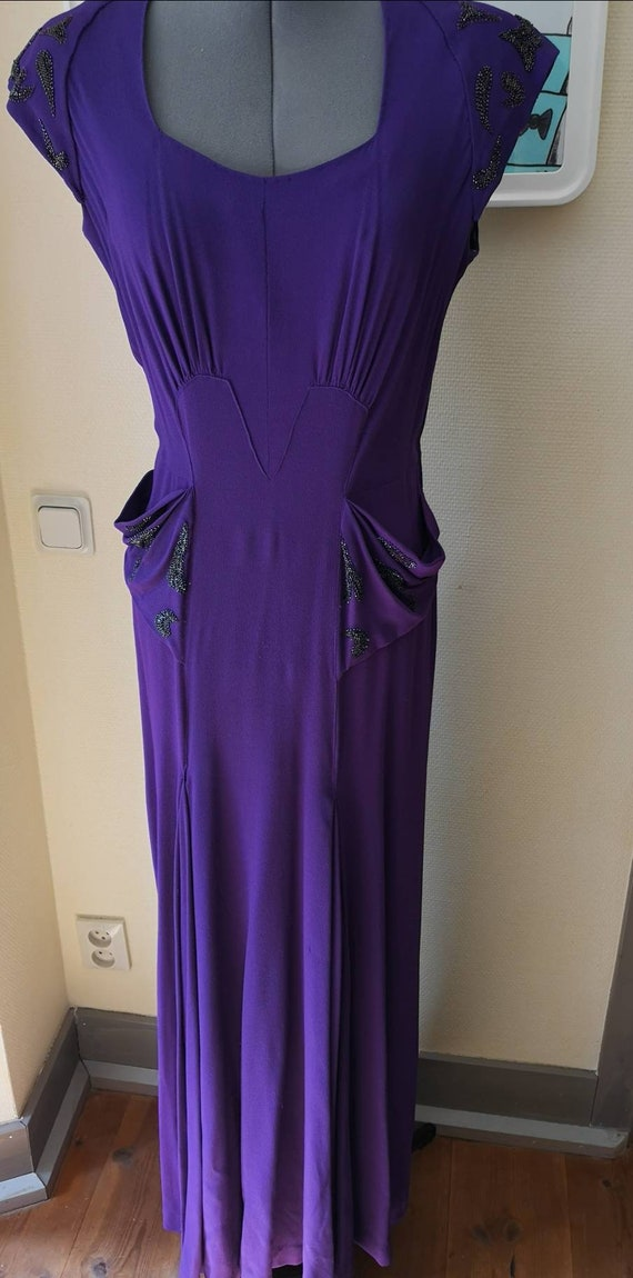 Vintage 1940s gown women, Rare 1940s dress, 1940s