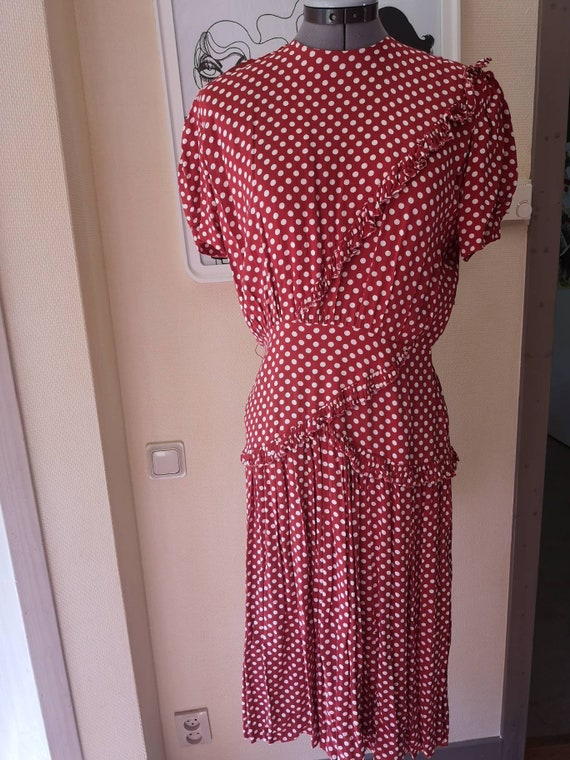 Vintage 1940s dress women, 1940s dress, polkadot 4