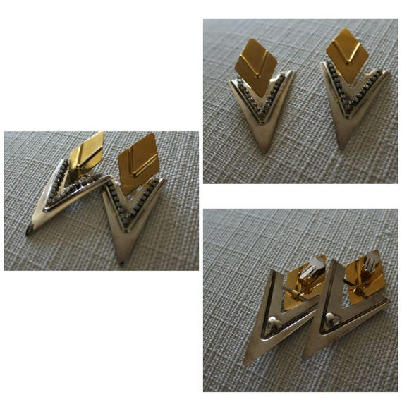 Vintage big gold and silver tone 1980s Earrings, 8