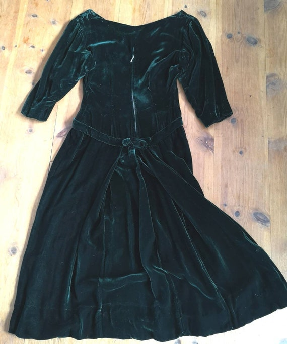 Vintage 1940s silk velvet dress women, 1940s dres… - image 2