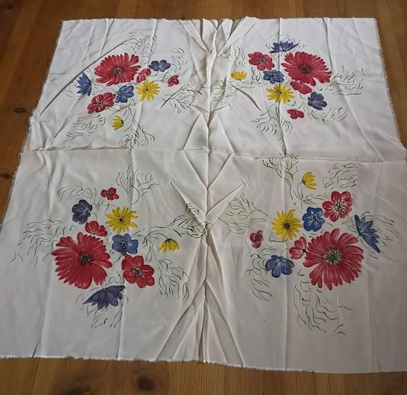 Vintage 1940s silk scarf, 1940s scarf, floral sil… - image 1