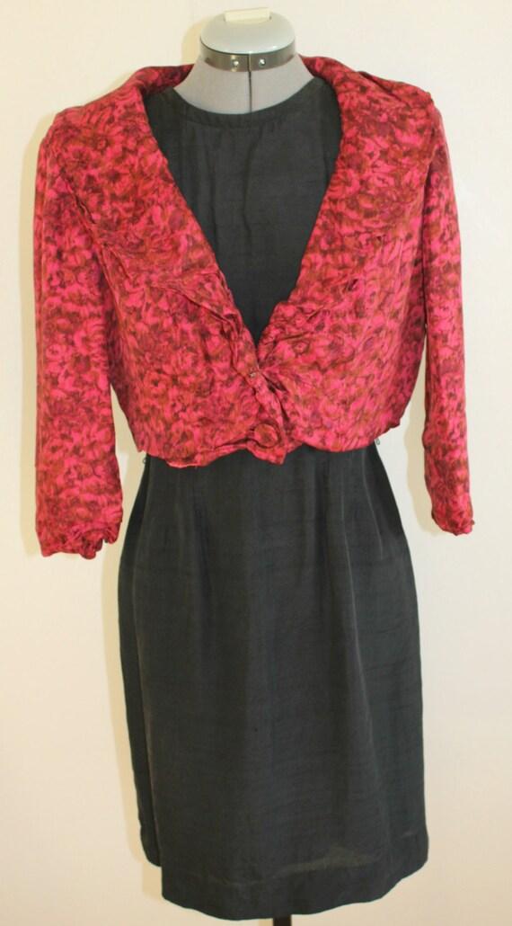 Vintage 1950s short Jacket,Silk suit, Floral, 1950