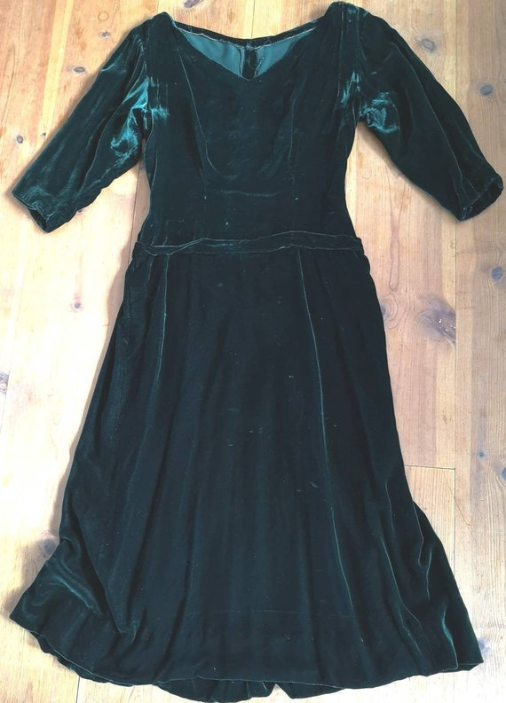 Vintage 1940s silk velvet dress women, 1940s dress