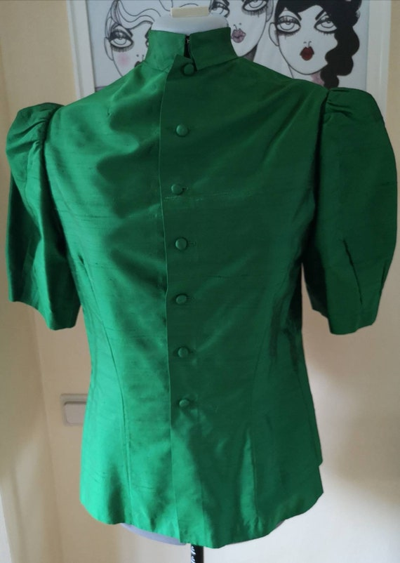 Vintage 1970s does 40s blouse women, 1970s blouse,