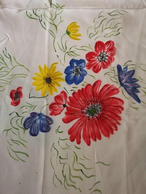 Vintage 1940s silk scarf, 1940s scarf, floral sil… - image 4