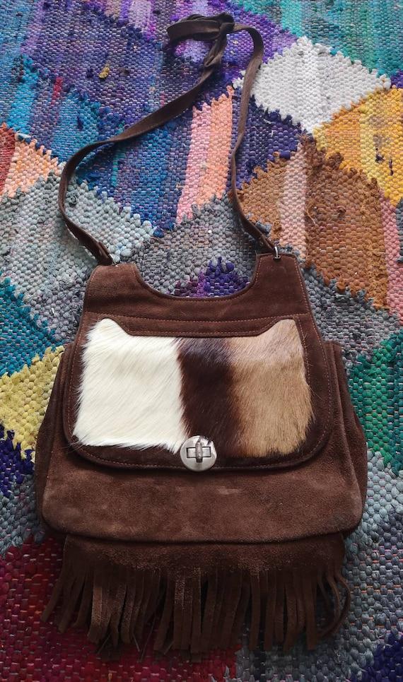 Vintage 1970s Suede bag, 1970s boho bag, 1970s fri