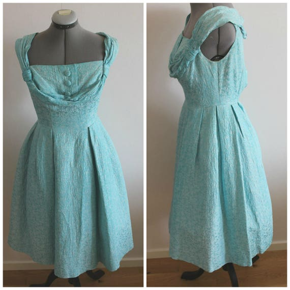 Vintage 50s dress women, 50s dress, Turquoise, Bro