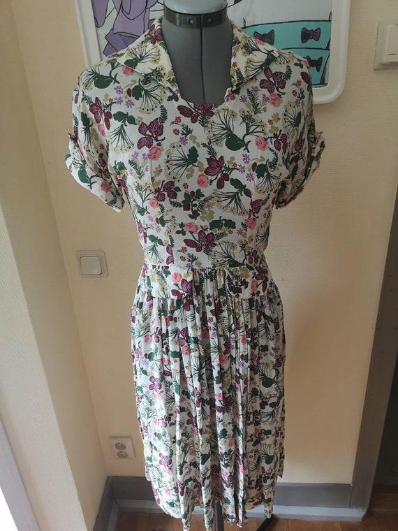 Vintage 1940s floral dress women, 1940s dress, 40s