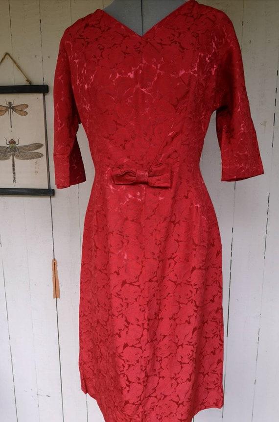 Vintage 1950s dress women, 1950s dress, 1950s rose