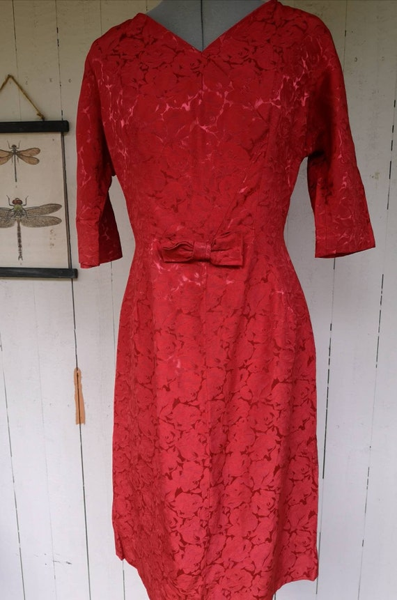 Vintage 1950s dress women, 1950s dress, 1950s rose