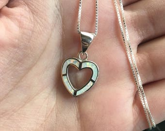 """Fire Opal Sterling Silver Heart Pendant with 18"""" Box Chain, Fire Opal Jewelry, Heart Necklace, Sterling Silver Necklace"""