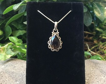 "Smoky Quartz Sterling Silver Pendant with 18"" Box Chain, Smoky Quartz Necklace, Smoky Quartz Jewelry"