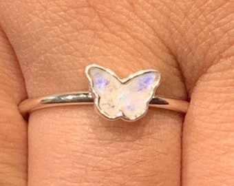 Moonstone Butterfly Shape Sterling Silver Ring, Stackable Ring, Inlay Ring