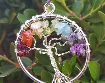Tree of Life Chakra Necklace, Chakra Pendant, Chakra Necklace, Tree of Life, Tree of Life Necklace