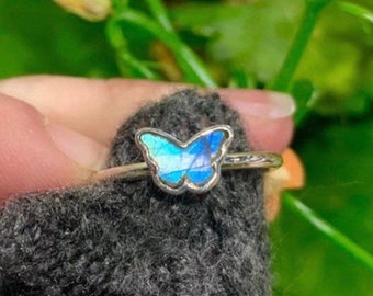 Labradorite Butterfly Shape Sterling Silver Ring, Stackable Ring, Inlay Ring
