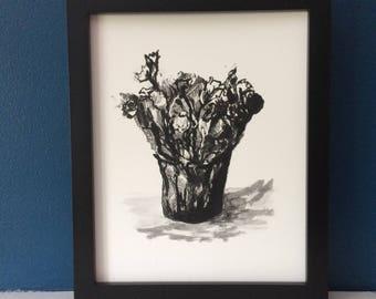 Flowers from Marie - Black & White Succulent Art Print, Kalanchoe, Wall Art, Original Art Print