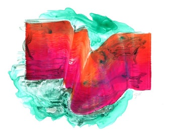 Possible, Impossible - Pink & Orange Art Print, Wall Art, Giclee Print, Fluid Art