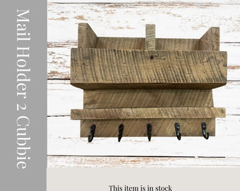 Mail Holder with cubbies a shelf, and hooks from reclaimed barnwood. Rustic Home Decor.