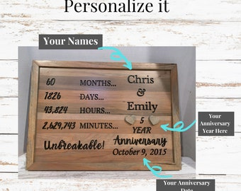 Personalized Anniversary sign. Wood Anniversary sign.