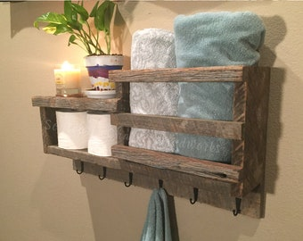 Bathroom Wall Organizer to holds towels, hooks for robes, bathroom tissue,  or candles. Barnwood bathroom storage.