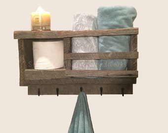 """Bathroom Wall Organizer to holds towels, hooks for robes, bathroom tissue,  or candles. Barnwood bathroom storage. Size 17"""" Wide"""