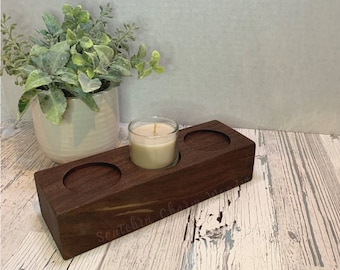 Votive Candle Holder,made from reclaimed walnut. For use with Tea Light Votive Candles as a Centerpiece.