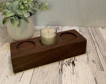 Small wood Candle Holder. Made from reclaimed walnut. For use with Tea Light Votive Candles as a Centerpiece.