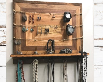 Rustic Wood Jewelry Holder and Storage.   Jewelry Organizer with rustic charm.  Jewelry Holder/Wall Organizer, Wood Jewelry Holder.