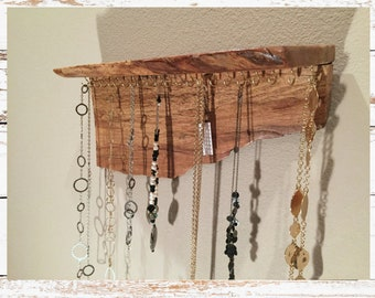 Rustic Wood Jewelry Display Holder with shelf.  Jewelry Storage/ Rustic Jewelry Holder /Wall Organizer/ Jewelry Holder shelf