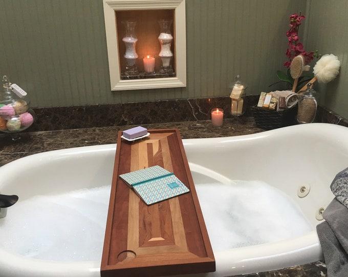 Featured listing image: Bathtub Tray with optional wine holder. Bathtub Tray Shelf,  Luxury Bathtub Tray, Bath Caddy. Perfect Gift for