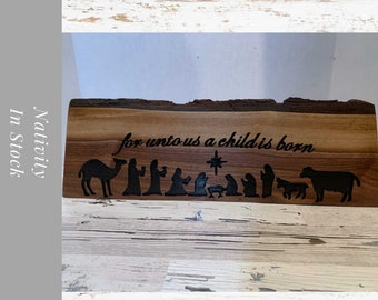 Christmas Nativity Sign/Block /carved nativity. Freestanding or wall hanging. Christmas Nativity Set