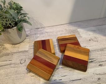 Wood Coasters Set. One set of Four Coasters.