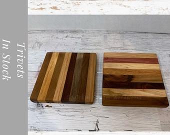 Trivet Gift Set, kitchen decor. Set of two Wood Pot Holders.