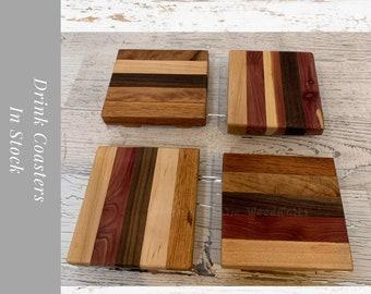 Rustic wood Coaster Set. Mixed Wood Drink Coasters. One set of 4 Coasters.