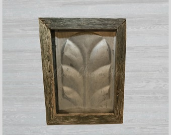 Antique Ceiling Wall Tin framed with old barnwood. Sku: 205