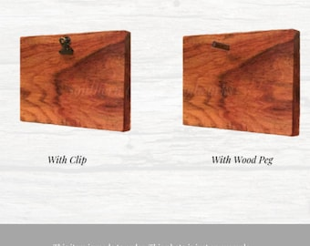 Photo Holder with Clips. Single  photo holder with clips, made from reclaimed wood. This is for one photo holder, Custom choose your size.