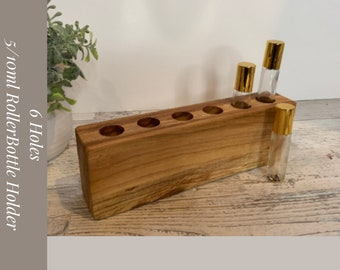 Essential Oil Holder for Rollerbottles 5/10ml. Has 6 Holes and is made from reclaimed walnut. Essential Oil Storage. Oil Holder
