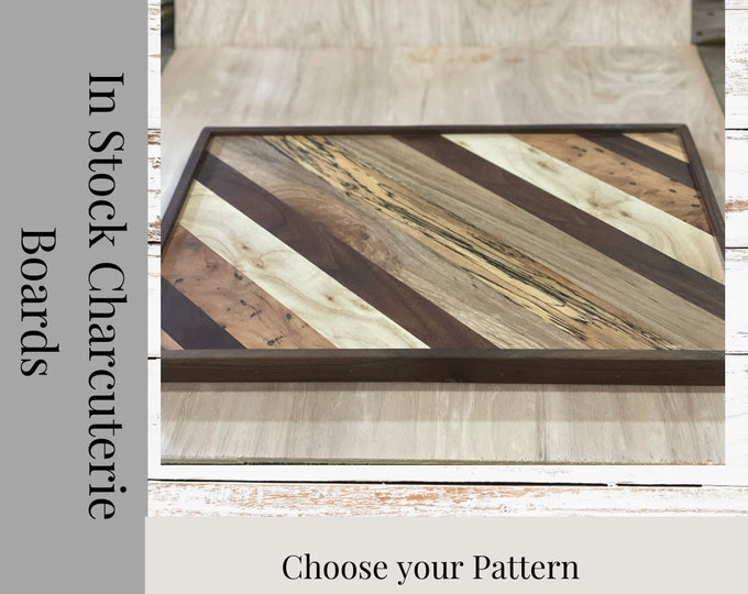Featured listing image: Serving Tray, charcuterie Board, Personalized, Cutting Board, Wood, Free Shipping