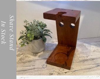 Wood Shaving Brush Stand Holder.Perfect gift for him, Razor  Stand.