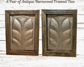 Set of Barnwood Framed Antique Tins. Farmhouse Wall Tins, pair, framed with old barnwood.