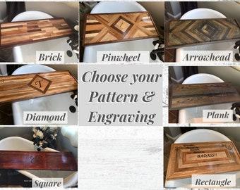 Personalized Bathtub Tray choose your pattern. Engraved Bathtub Tray Shelf,  Luxury Bathtub Tray, Bath Caddy.