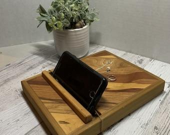 Charging Station for phones or tablet. Single charging station with trinket indentation.