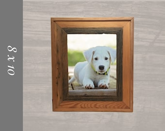 8x10 Picture Frame made from reclaimed wood with rustic edge.